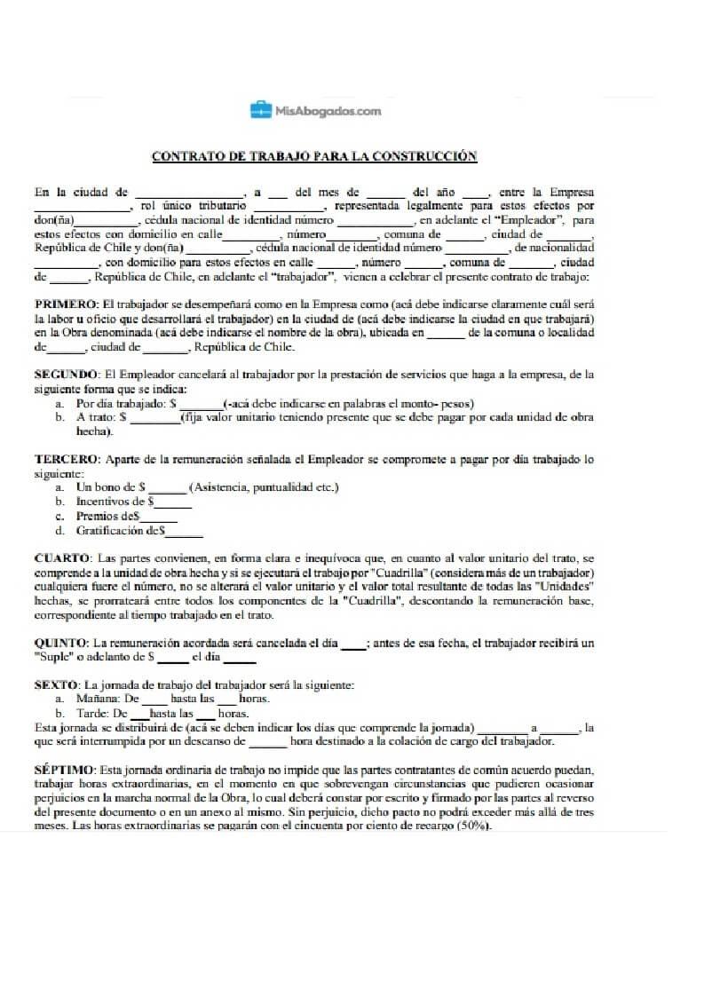 Modelo de contrato de trabajo para la construcción