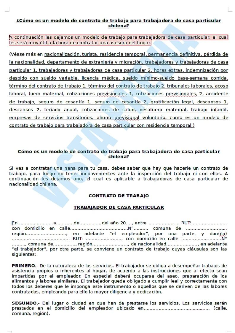 imagen ejemplo de contrato laboral para trabajadora de casa particular en Chile
