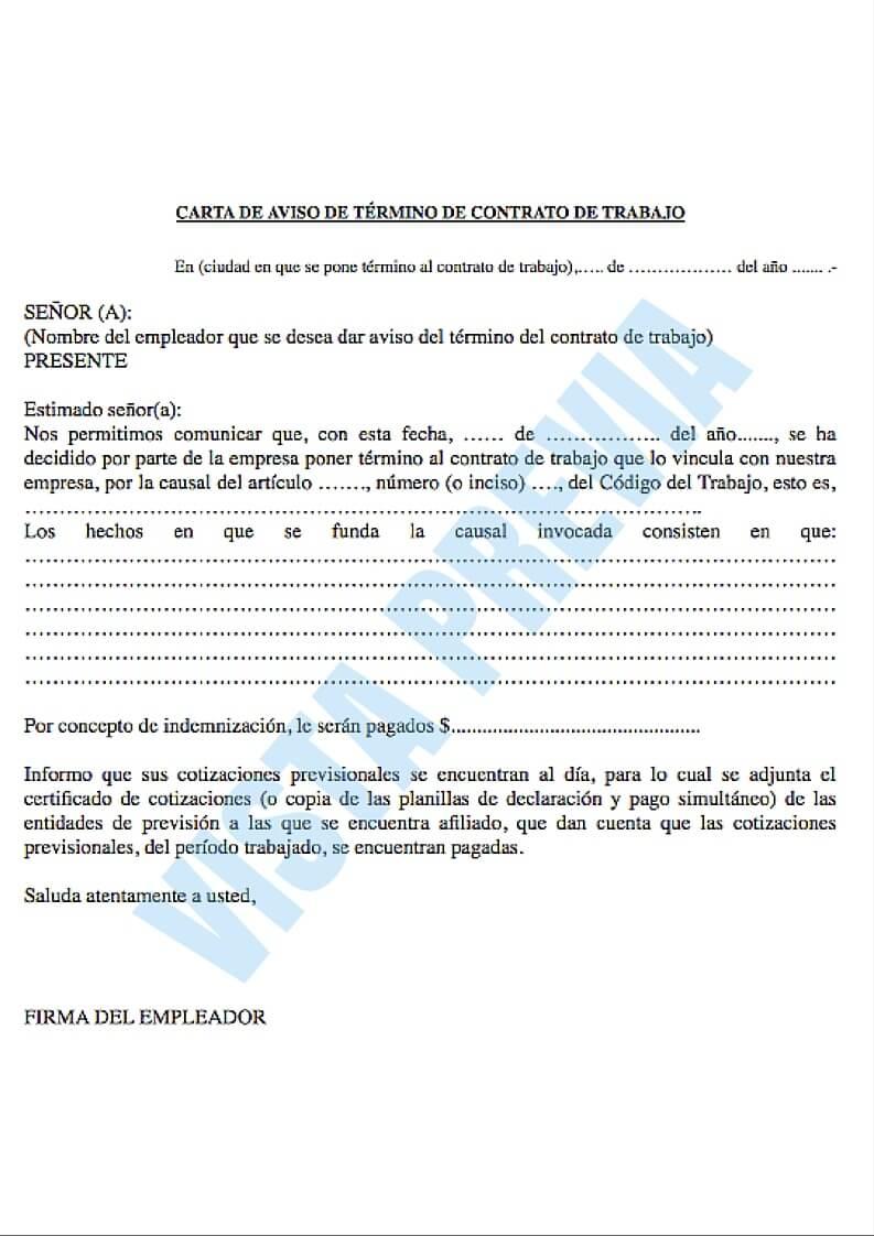 Modelo de carta de aviso de t rmino de contrato de trabajo for Modelo contrato laboral