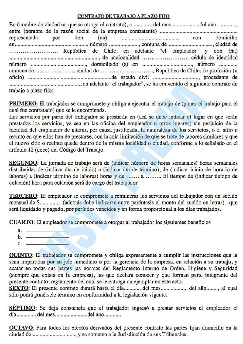 Modelo de contrato laboral a plazo fijo for Modelo contrato de trabajo servicio domestico 2015